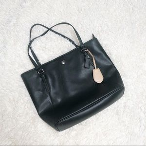 Black leather coach tote purse bag